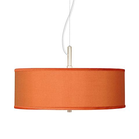 "Orange Faux Silk 20"" Wide Pendant light"