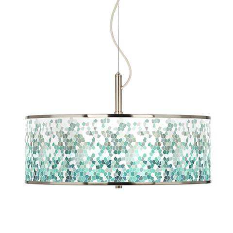 "Aqua Mosaic Giclee Glow 20"" Wide Pendant Light"