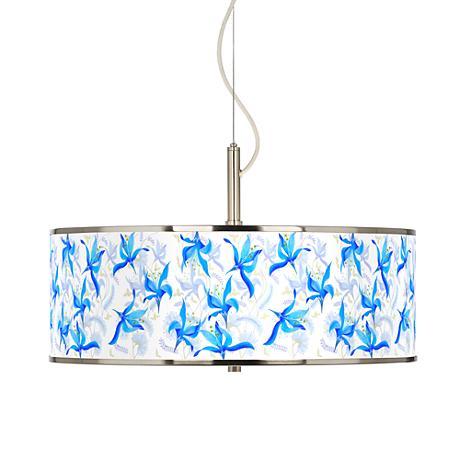 """Flora Bleu Giclee Glow 20"""" Wide Pendant Light"""