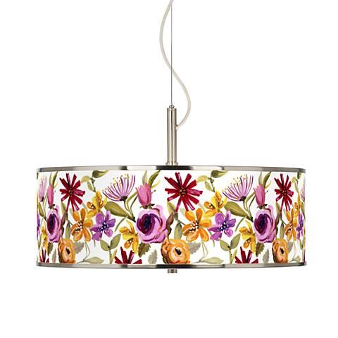"Bountiful Blooms Giclee Glow 20"" Wide Pendant Light"