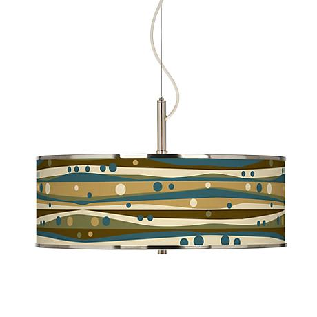 """Dots and Waves Giclee Glow 20"""" Wide Pendant Light"""