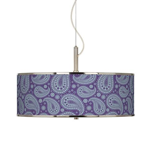 "Purple Paisley Linen Giclee Glow 20"" Wide Pendant Light"