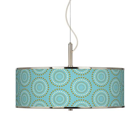 "Blue Calliope Linen Giclee Glow 20"" Wide Pendant Light"