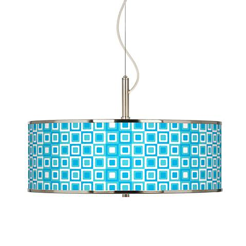"Blue Boxes Linen Giclee Glow 20"" Wide Pendant Light"