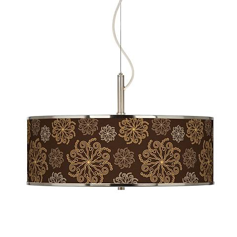 "Chocolate Blossom Linen Giclee Glow 20"" Wide Pendant Light"
