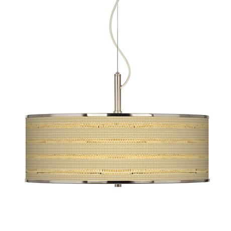 """Woven Reed Giclee Glow 20"""" Wide Pendant Light"""