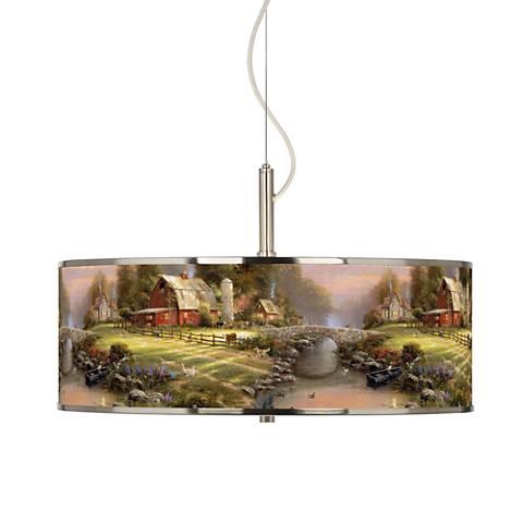 """Thomas Kinkade Sunset at Riverbend Farm 20"""" Pendant Light"""