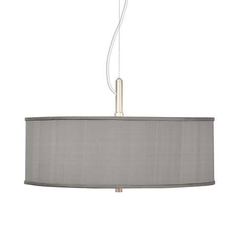 "Gray Textured Silk 20"" Wide Pendant Chandelier"