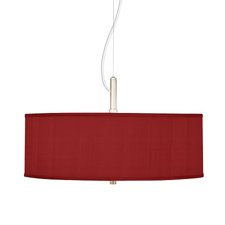 """China Red Textured Silk 20"""" Wide Pendant Chandelier"""