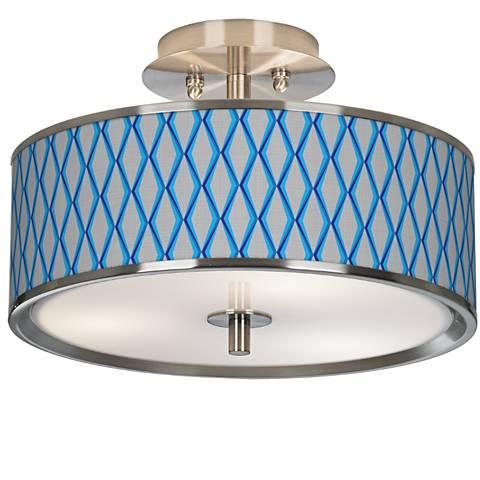 """Bleu Matrix Giclee Glow 14"""" Wide Ceiling Light"""