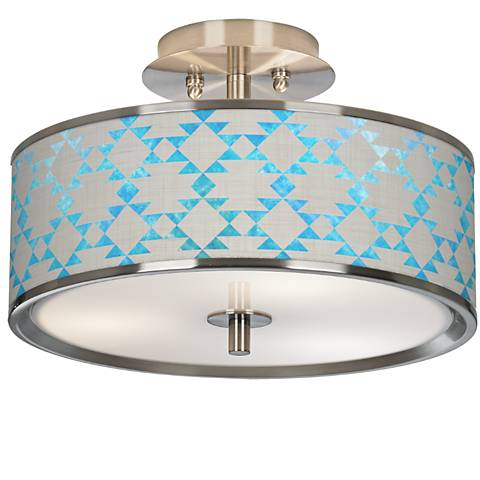 "Desert Aquatic Giclee Glow 14"" Wide Ceiling Light"