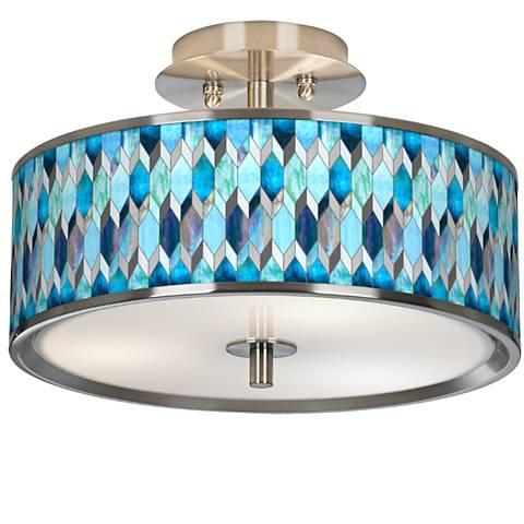 "Blue Tiffany Giclee Glow 14"" Wide Ceiling Light"