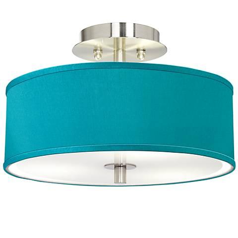 "Teal Blue Faux Silk 14"" Wide Brushed Steel Ceiling Light"