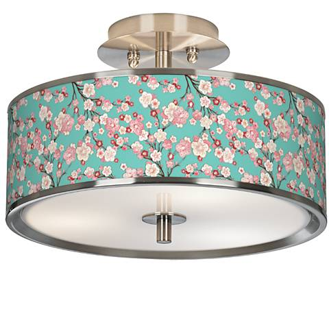 """Cherry Blossoms Giclee Glow 14"""" Wide Ceiling Light"""