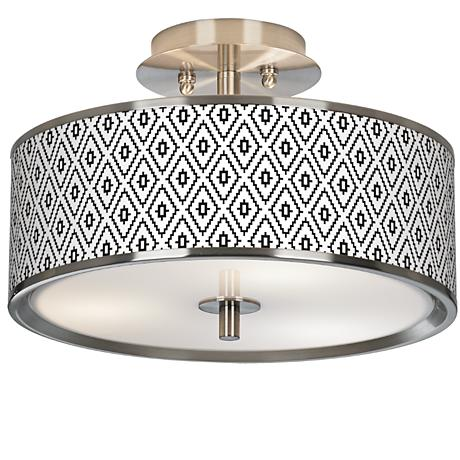 "Black Diamonds Giclee Glow 14"" Wide Ceiling Light"