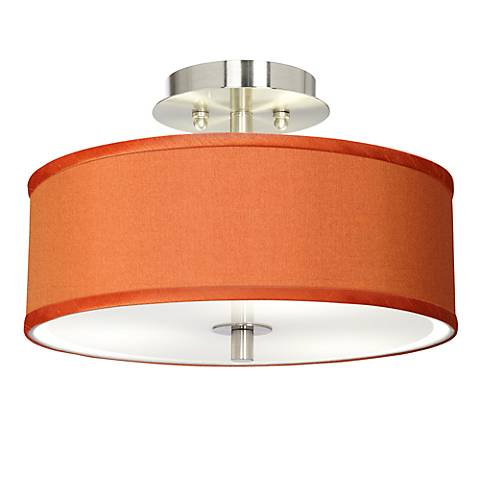 Orange Faux Silk Brushed Steel Ceiling Light