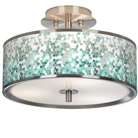 "Aqua Mosaic Giclee Glow 14"" Wide Ceiling Light"