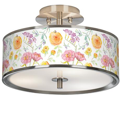 "Spring Garden Giclee Glow 14"" Wide Ceiling Light"