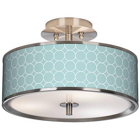 "Aqua Interlace Giclee Glow 14"" Wide Ceiling Light"