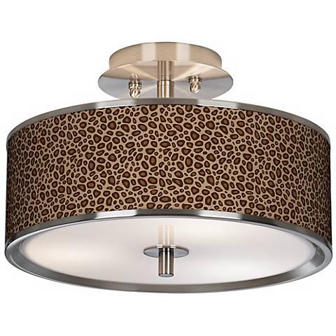 "Safari Leopard Giclee Glow 14"" Wide Ceiling Light"