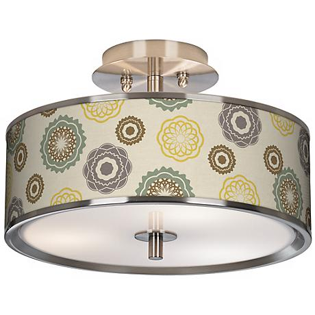 """Ornaments Linen Giclee Glow 14"""" Wide Ceiling Light"""