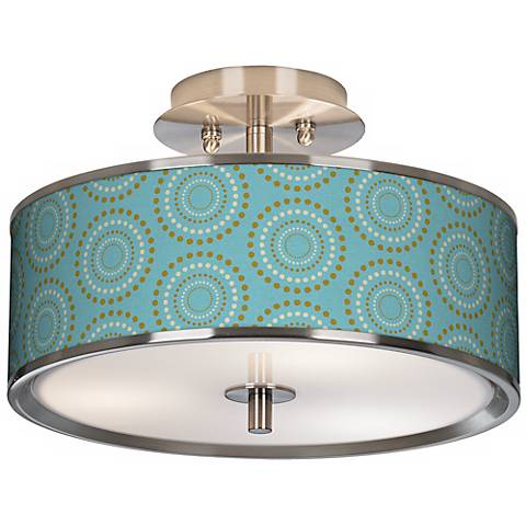 "Blue Calliope Linen Giclee Glow 14"" Wide Ceiling Light"
