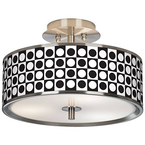 "Black and White Dotted Squares Giclee Glow 14"" Ceiling Light"