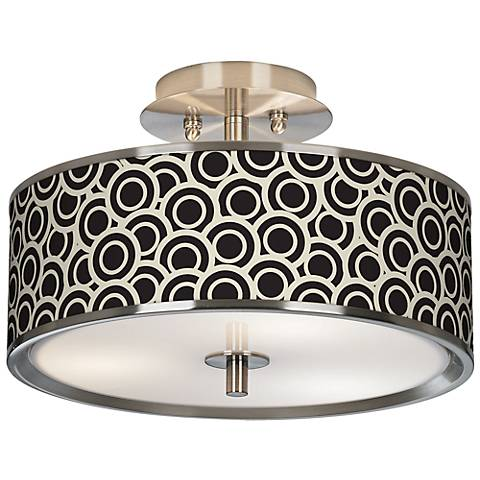 "Black and Ivory Circlets Giclee Glow 14"" Wide Ceiling Light"