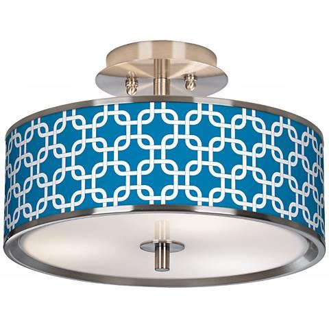 "Blue Lattice Giclee Glow 14"" Wide Ceiling Light"