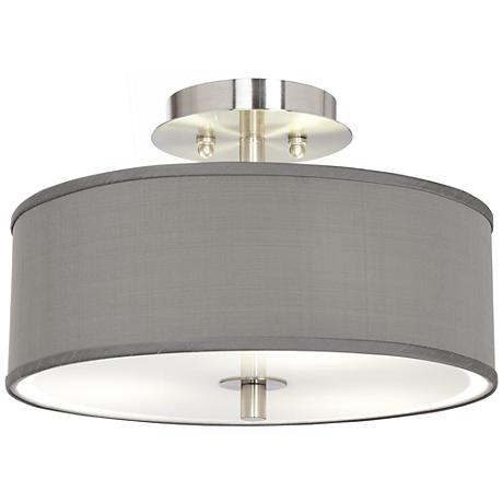 "Gray Faux Silk 14"" Wide Ceiling Light"