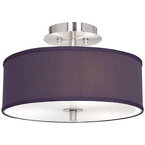 "Eggplant Faux Silk 14"" Wide Ceiling Light"