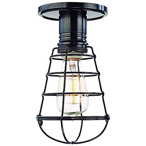 Heirloom Old Bronze Wire Guard Semi-Flushmount Ceiling Light