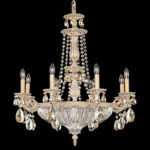 "Schonbek Milano 27"" Wide Parchment Gold Crystal Chandelier"