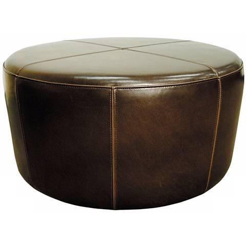 Wheel Mocha Bycast Leather Ottoman