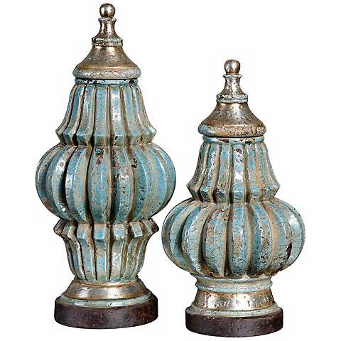 Set of 2 Fatima Decorative Sky Blue Urns by Uttermost