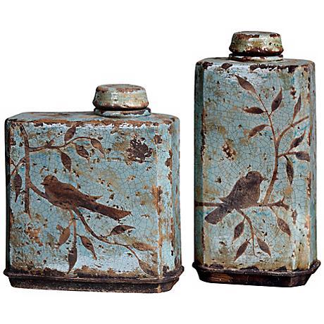 Set of 2 Uttermost Bird Freya Ceramic Containers