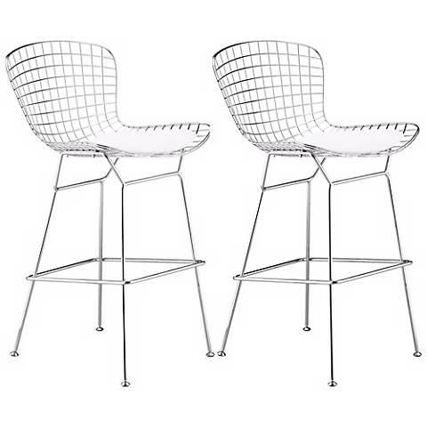 "Set of 2 Zuo 27 1/ 2"" Wire Chrome Bar Chairs"