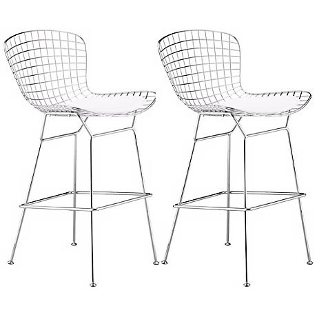 """Set of 2 Zuo 27 1/ 2"""" Wire Chrome Bar Chairs"""