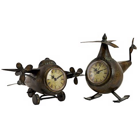 Set of 2 Lindbergh Aviation Airplane Clocks