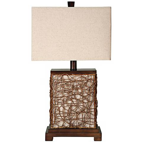 "Freeport Wood-Rattan With Nightlight 27"" High Table Lamp"