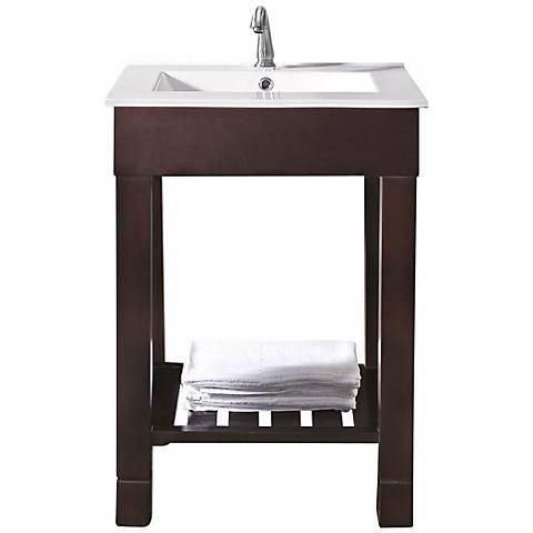 """Loft Dark Walnut 25"""" Wide Bath Sink Vanity"""