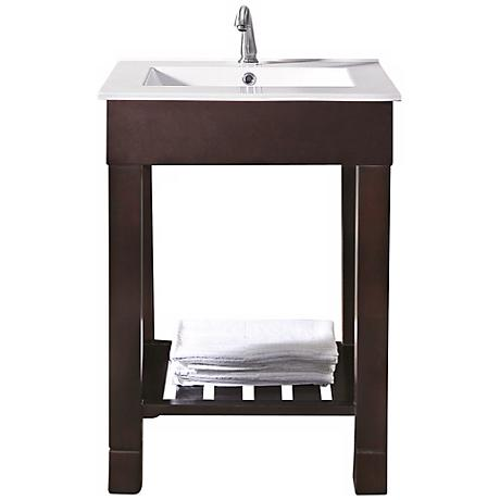 "Loft Dark Walnut 25"" Wide Bath Sink Vanity"
