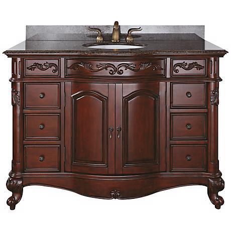 """Provence Imperial Granite Top 48"""" Wide Sink Bath Van"""