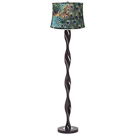 Peacock Print Twist Floor Lamp