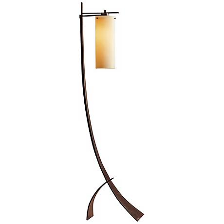 Hubbardton Forge Stasis Floor Lamp with Stone Glass Shade