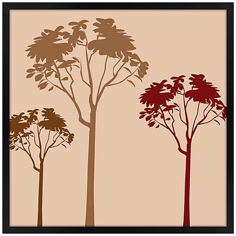 """Forest Trio Sunset 26"""" Square Black Giclee Wall Art"""