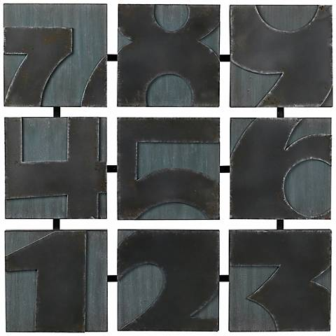 "Metal Numbers 28 1/2"" Square Wall Art"