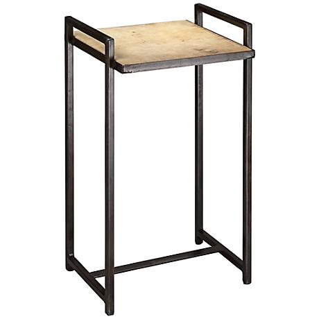 Jamie Young Steel Vellum Goathide Side Table