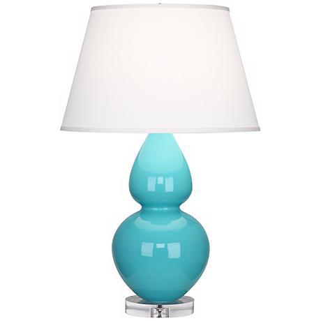 Robert Abbey Double Gourd Egg Blue Ceramic Table Lamp