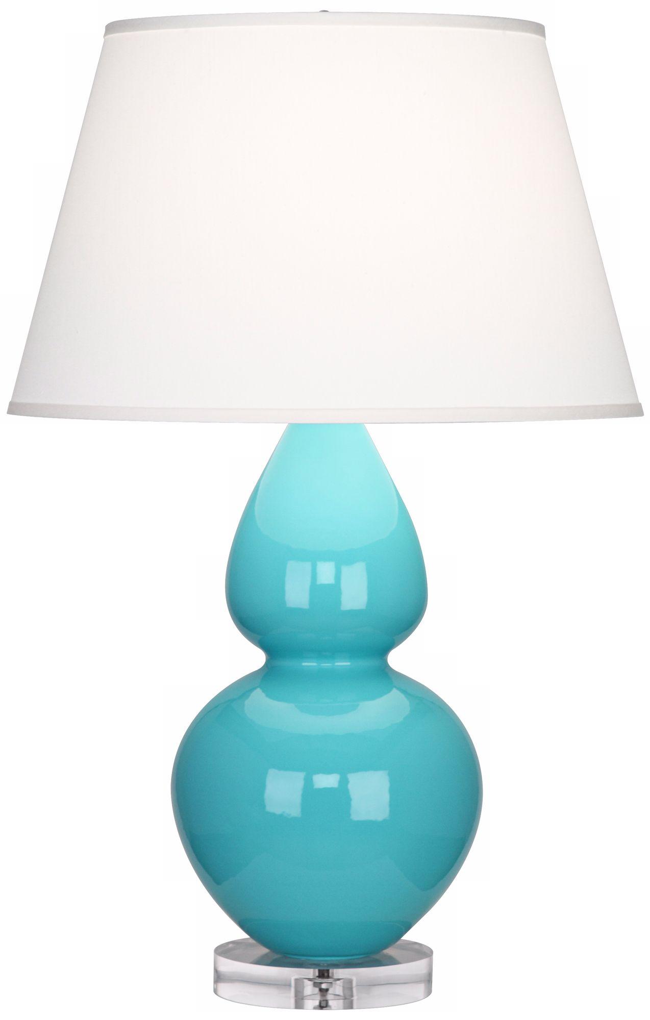 Superb Robert Abbey Double Gourd Egg Blue Ceramic Table Lamp